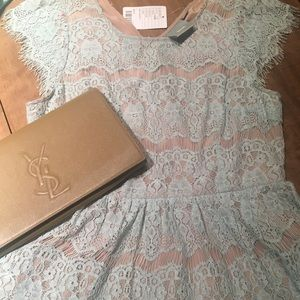 Anthropologie Robins Egg Blue Eyelash Lace Top NWT